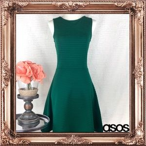ASOS Green Sleeveless Ribbed Skater Dress Size 0